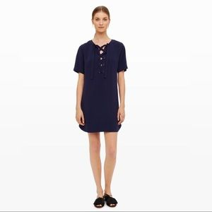 Club Monaco Seona Lace Up Dress in Blue